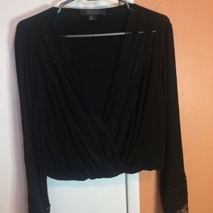 F21 Cropped Surplice Top with Lace Bell Sleeves